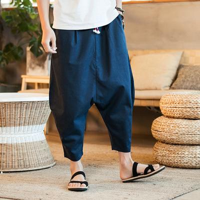 Mùa hè chất béo lỏng quần harem linen cộng với phân bón XL bảy chân quần chân rộng quần đèn lồng Thái thủy triều Quần Harem