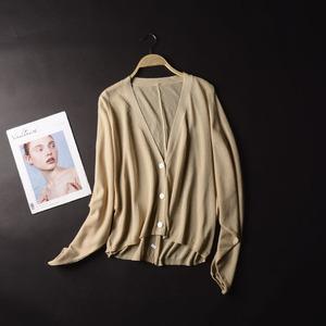 G * 26 Mùa Thu thời trang đơn giản màu rắn V-Cổ cardigan áo Hàn Quốc phiên bản của hoang dã dài tay đơn ngực áo len