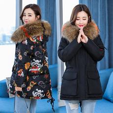 实拍韩国东大门2018新款羽绒服大码女装中长款时尚棉衣外套8902