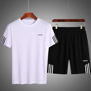 夏季速干衣運動套裝男士兩件套加大碼加肥休閑跑步短袖衫短褲肥佬