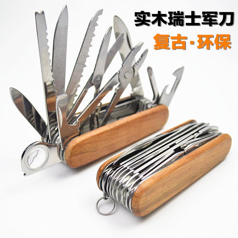 Thụy sĩ quân dao thép không gỉ 30 chức năng retro bảo vệ môi trường rắn gỗ xử lý 17 mở đa chức năng dao ngoài trời saber