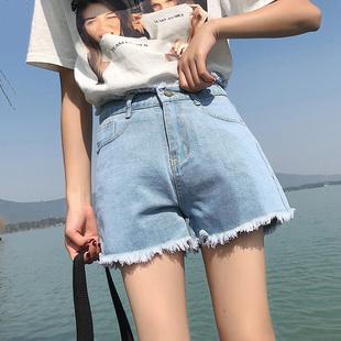 高腰毛边牛仔短裤女春夏紧身热裤外穿潮