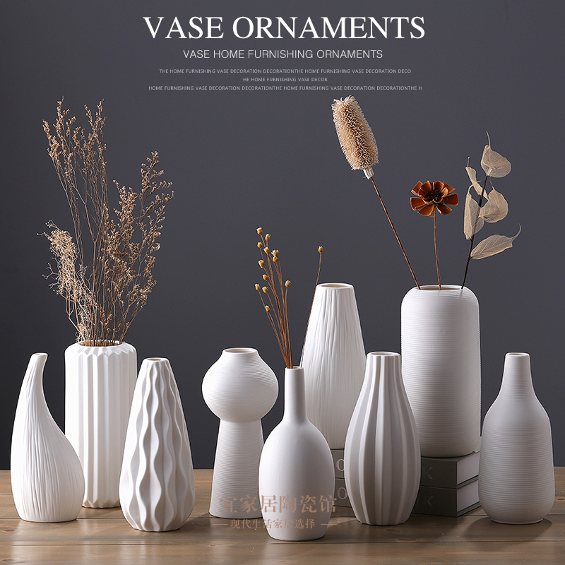 5 42 White Ceramic Vase Plain Fired Living Room Furnishings Nordic Simple Household Jewelry Dry Flower Arrangement Porcelain Decoration From Best Taobao Agent Taobao International International Ecommerce Newbecca Com