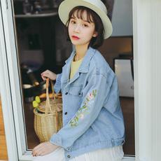 实拍~浅色牛仔外套女宽松bf短款刺绣花朵百搭韩版修身显瘦上衣