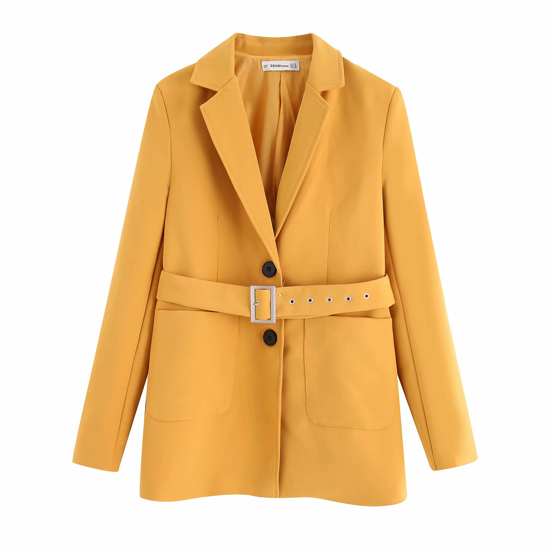 2019 зимний осенний новинка ретро дикий плед британская мода отворот женский длина ремень костюм пальто 603126362317