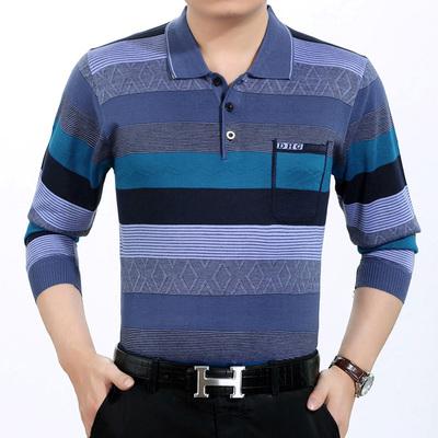 Mùa xuân và mùa hè trung niên của nam giới dài tay T-Shirt phần mỏng của lụa người đàn ông lỏng lẻo trung niên t-shirt 40-55 tuổi cha áo thun hàng hiệu Áo phông dài