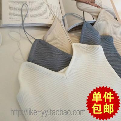 Mùa hè của phụ nữ Hàn Quốc phiên bản mới của tự trồng dọc đan đáy áo sexy mỏng và đơn giản mỏng yếm trong vest phụ nữ