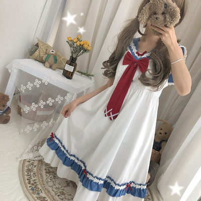 42agent 2019 summer women's Japanese soft sister college wind sweet girl bow student short-sleeved high waist dress - Taobao