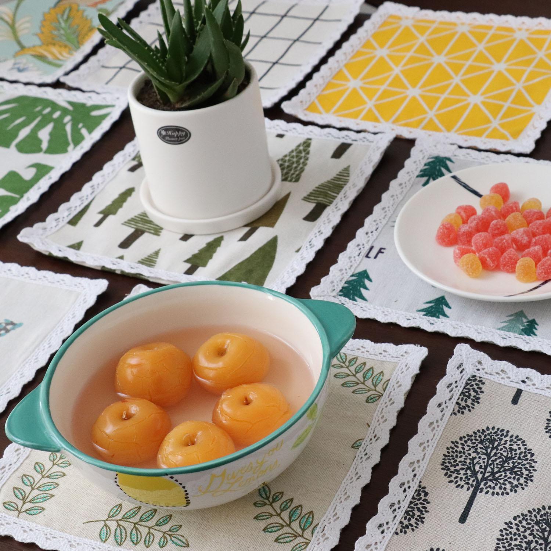 Coaster cách nhiệt pad bảng mat vải thảm bông phong cách Bắc Âu nhà hàng phương tây trang trí mat bát mat tấm mat