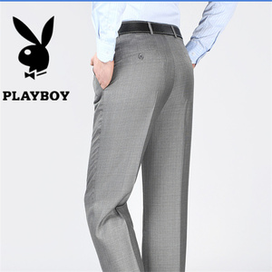 Playboy quần nam lỏng thẳng trung niên phù hợp với quần nam lụa kinh doanh bình thường nóng mùa xuân và mùa hè phần mỏng