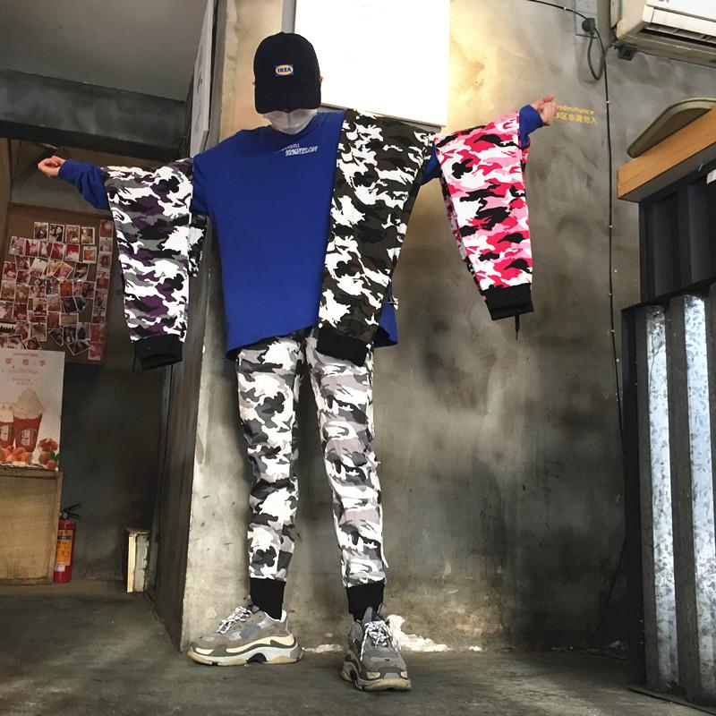 宽松迷彩裤工装长裤束脚小收脚裤男女休闲运动裤九分裤