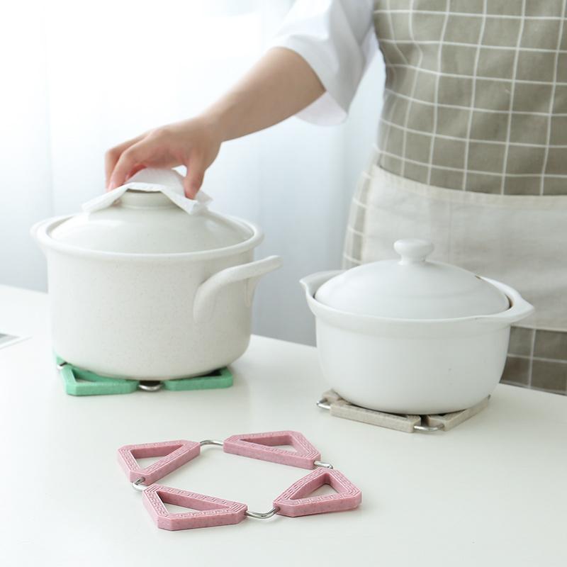 Chống nóng pad cách nhiệt pad gạo bảng mat thép không gỉ nhà sáng tạo gấp bộ đồ ăn mat lẩu mat bát mat
