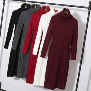 工厂直销加厚冬季高领针织打底衫连衣裙秋冬款女装超长款毛衣长裙