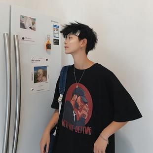 【ins超火】男生宽松港风潮牌五分T恤