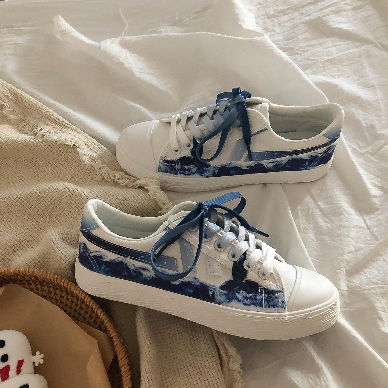 Lin Xianshen vẽ tay graffiti giày đế thấp giày nữ ulzzang Giày ván gió Harajuku giày thủy triều - Plimsolls