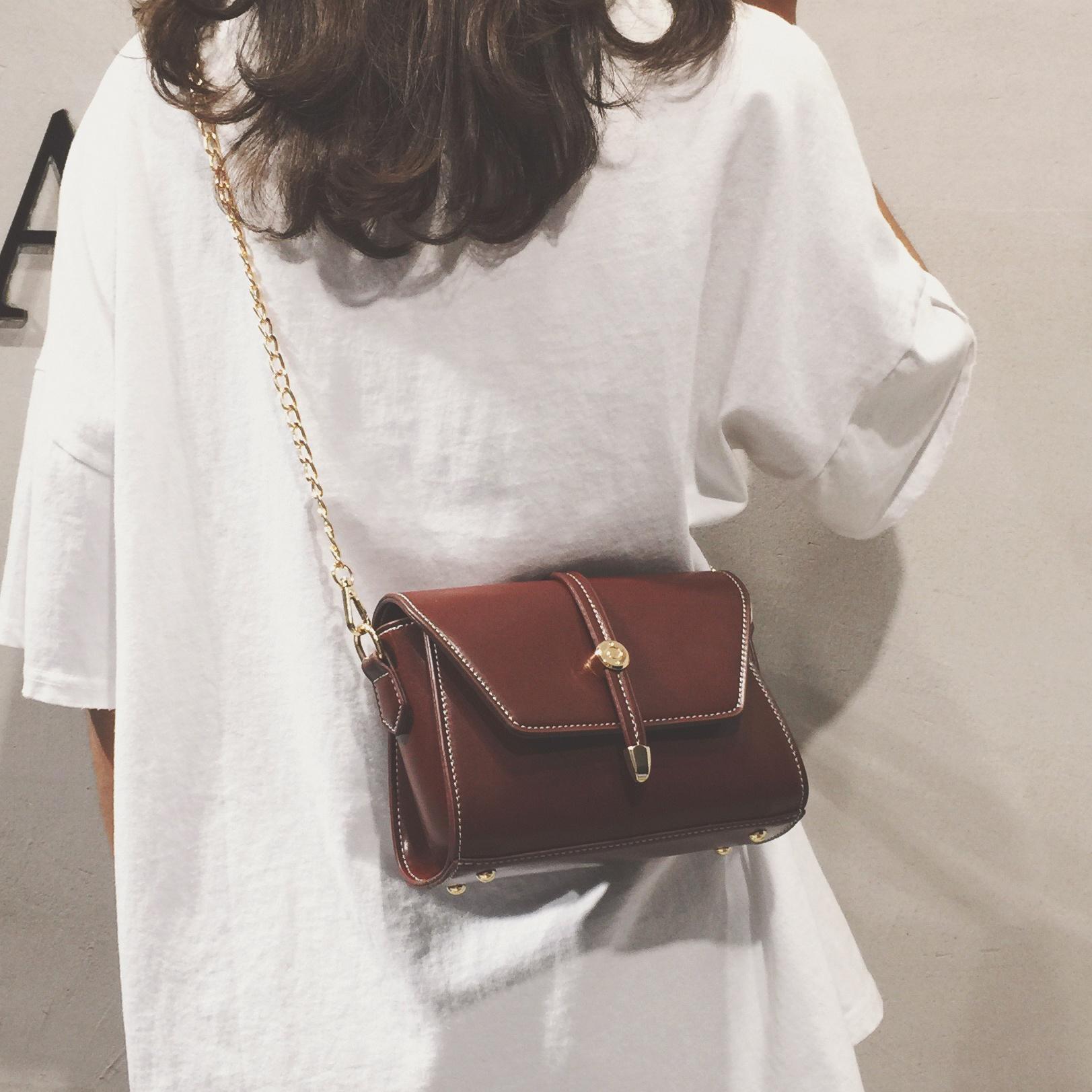 香港真皮女包春夏链条包包2021新款潮百搭单肩包斜挎网红时尚小包