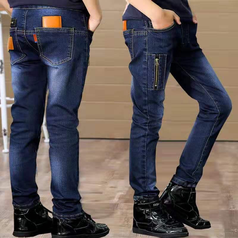 2020 bé trai mới eo cao quần denim mùa xuân thun eo 2 đến 17 tuổi quần trẻ em co giãn mỏng - Quần jean