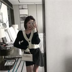 实拍 港味chic短款2019春季韩版v领针织外套毛衣开衫#5007