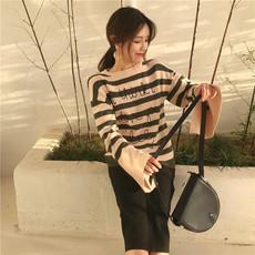 实拍 韩国chic宽松毛衣女韩版时尚显瘦条纹字母打底针织衫潮#4039