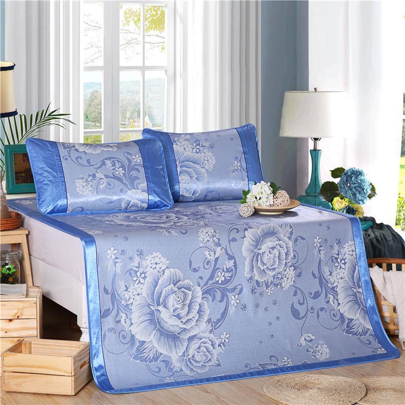 麦艺家纺可折叠冰丝凉席三件套夏季1.5m1.8m米床单双人席子