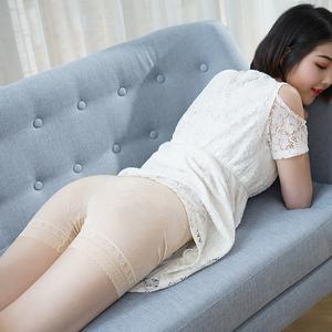 2条冰丝提花安全裤防走光女不卷边可外穿加大码螺纹打底裤女夏薄