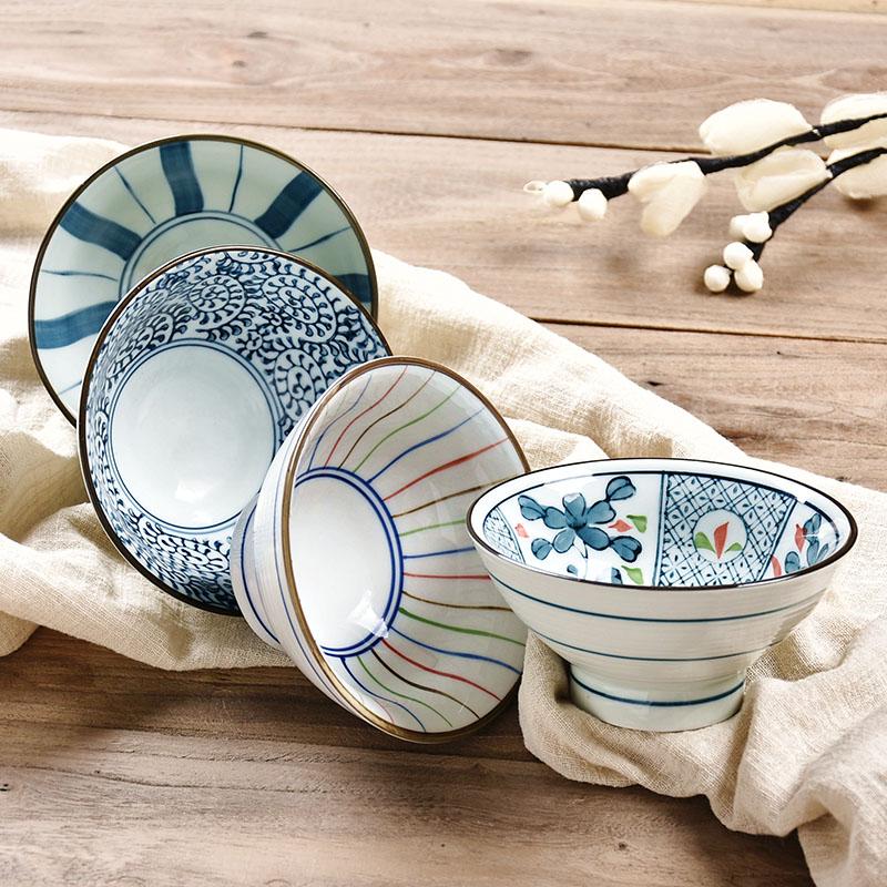 极有家认证!日式手绘陶瓷碗 家用吃饭餐具