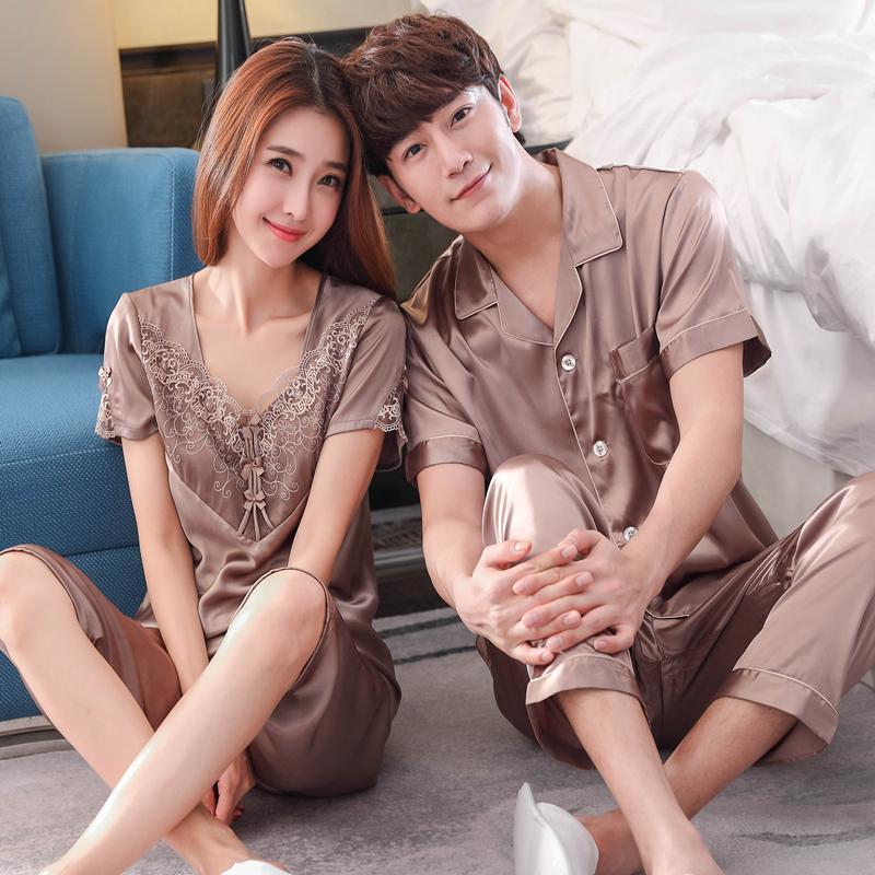 Lụa lụa nam đồ ngủ của phụ nữ mùa hè ngắn tay vài bộ đồ ngủ lụa lụa màu rắn có thể được đeo bên ngoài dịch vụ nhà phù hợp với
