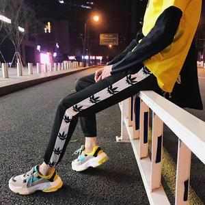 Quần Hàn Quốc phiên bản của xu hướng quần harem thanh niên trai hoang dã thể thao màu đen quần Mỏng chín quần quần âu