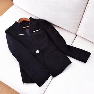 X076 mùa xuân và mùa thu phụ nữ mới của eo nhỏ phù hợp với một khóa tính khí phù hợp với cơ thể áo khoác nhỏ B7-9