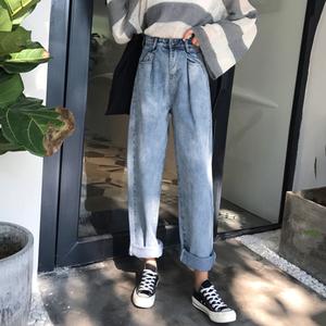 Mùa xuân mới của Hàn Quốc phiên bản của BF gió sinh viên là mỏng lỏng hoang dã cao eo quần chân rộng jeans phụ nữ quần chân thẳng thủy triều