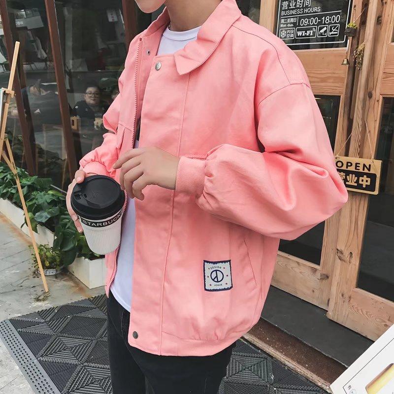 Mùa xuân và mùa thu mỏng áo khoác nam sinh viên Nhật Bản Hàn Quốc bf Harajuku lỏng màu hồng áo khoác xu hướng đẹp trai hoang dã áo sơ mi