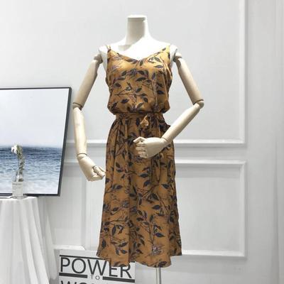 Giả satin vải ~ hai màu chéo qua dây đeo lá quần hoang dã retro mỏng đầm váy đầm