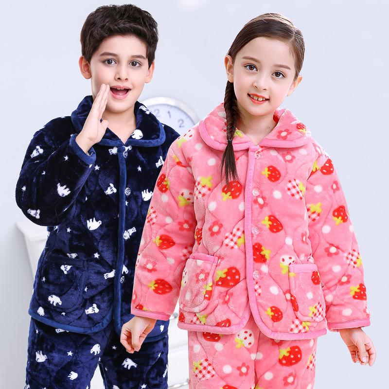 儿童夹棉睡衣女童冬季三层加厚加绒款法兰绒家居服套装男宝宝棉衣