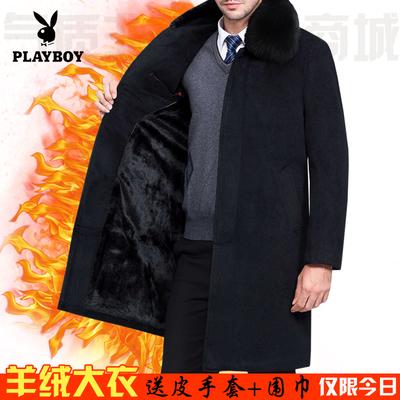 Playboy thương hiệu của người đàn ông áo len mùa đông cashmere coat trung niên cộng với nhung dày lên daddy coat Áo len