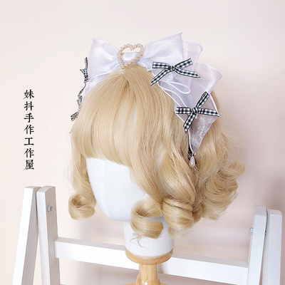 taobao agent 【maid】Alice sisters derived original hand-made small objects black and white grid headband/bunny ears/kc/shoe clip