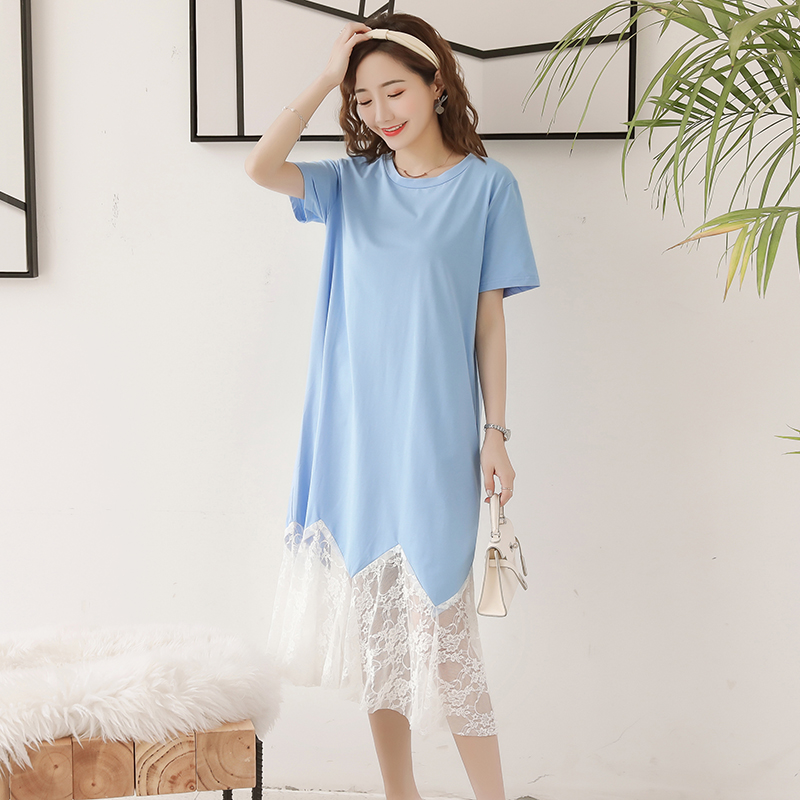 usa cheap sale attractive style high quality Maternity Clothing Dress Lace Soft Cotton Summer Short Sleeved Pregnant  Women