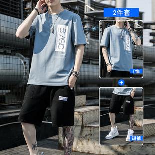男士夏季短袖t恤短裤套装休闲半袖运动裤衩