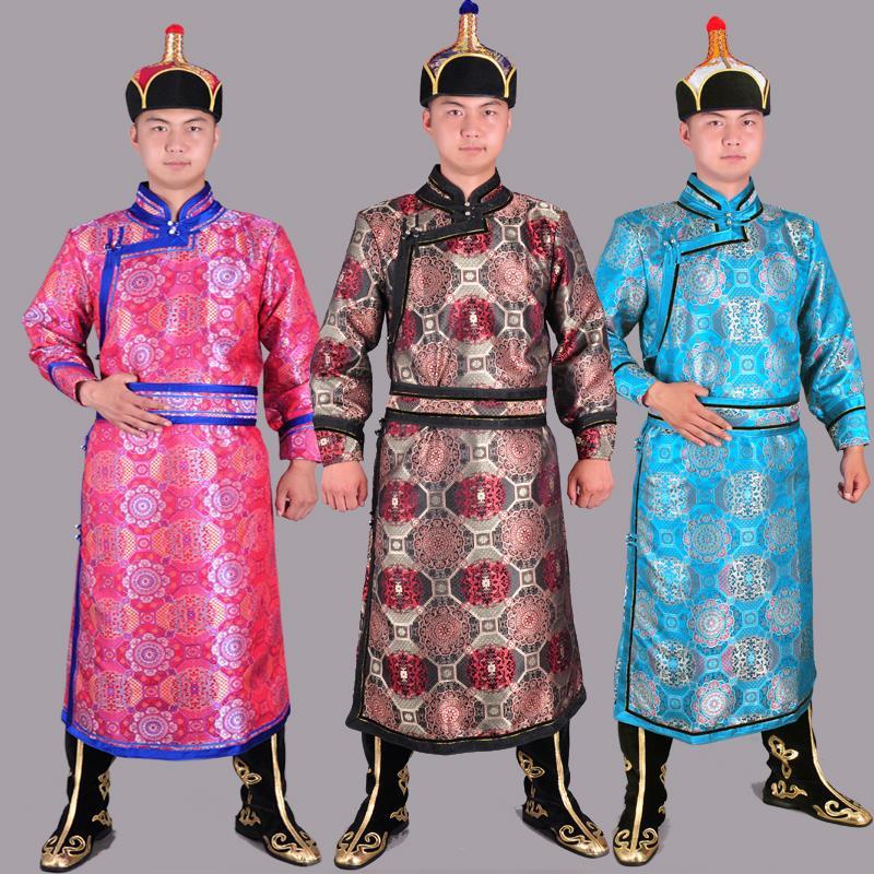 Áo choàng Mông Cổ thời trang nam hiệu suất quần áo Quần áo Mông Cổ nam Quần áo sống Mông Cổ quần áo dài hàng ngày Mông Cổ - Trang phục dân tộc