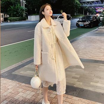 女装长袖中长款宽松显瘦仿羊羔外套大衣