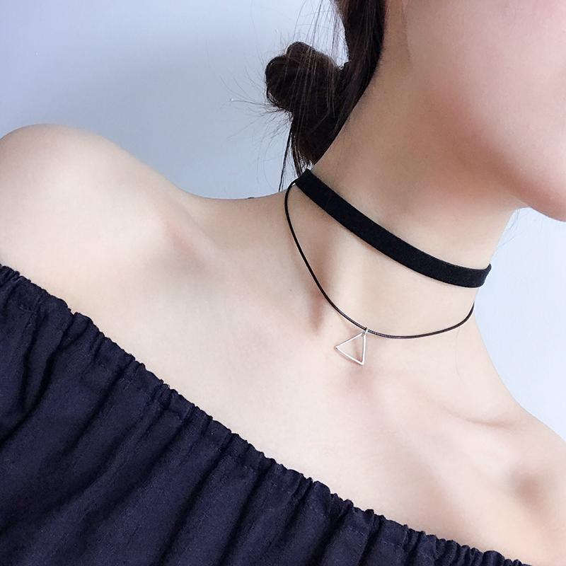 网红颈饰锁骨链女短款颈带脖子饰品蕾丝简约项圈学生日韩黑色项链