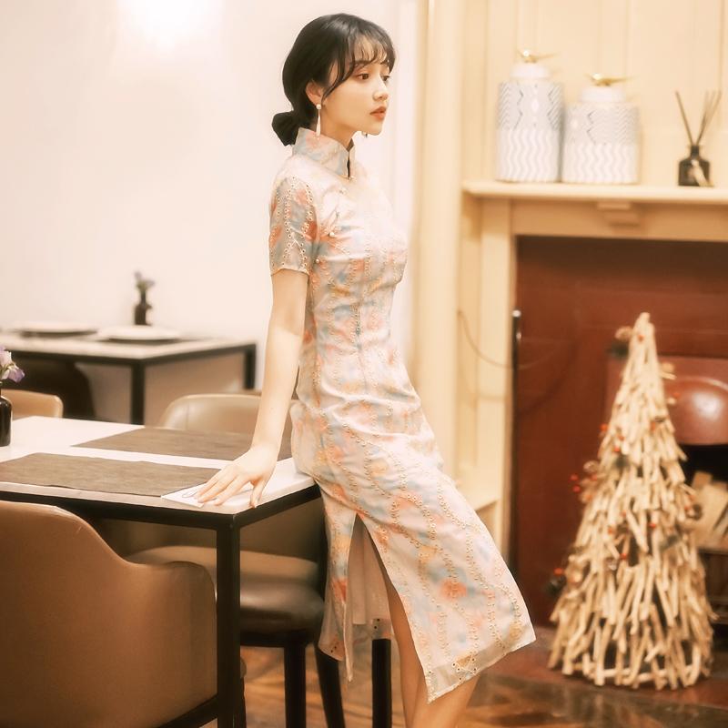 实拍《云雀叫了一整天》少女清新绣花旗袍19复古文艺标价加30以上