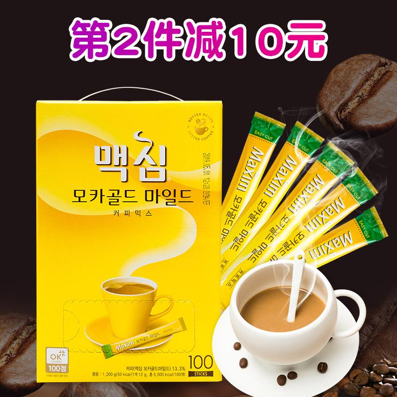 黄麦馨咖啡Maxim三合一韩国摩卡口味速溶咖啡100条礼盒装1200g
