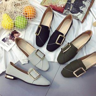 新款韩版方扣单鞋方头豆豆女鞋