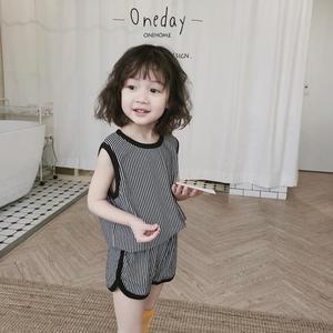 2018 trẻ em mùa hè của sọc thể thao phù hợp với cô gái không tay vest + quần short mẫu giáo giản dị hai mảnh thủy triều