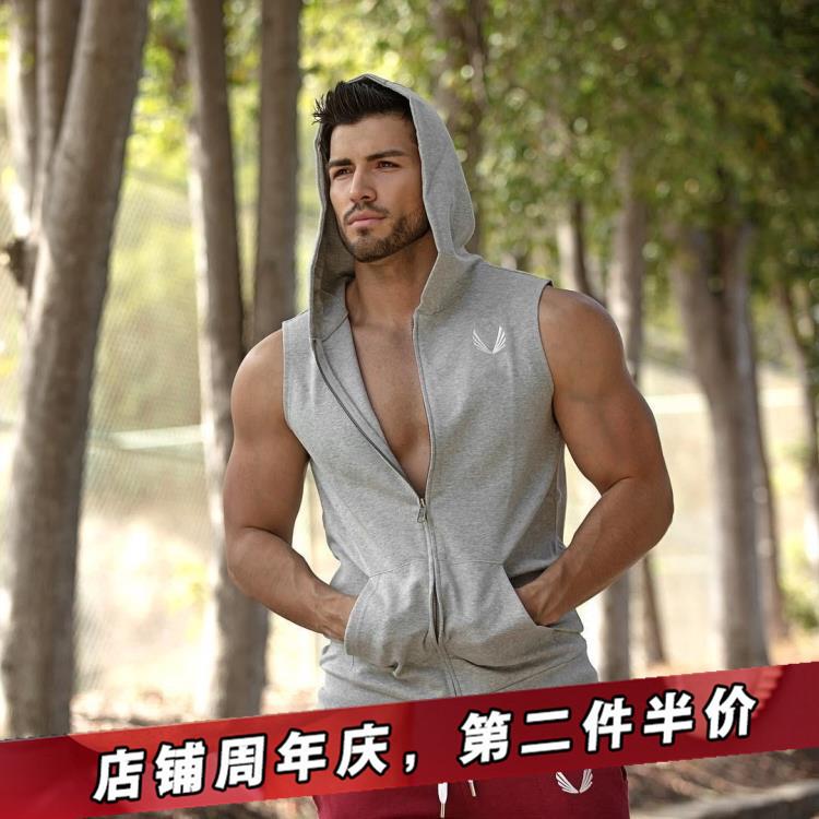 Cơ bắp tập thể dục vest brothers trùm đầu không tay thể thao phần mỏng Slim breathable vest nam chạy đào tạo phù hợp với áo sơ mi