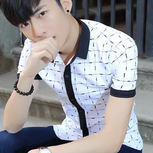 短袖襯衫男士修身版免燙商務格子襯衣純色夏天學生青少年寸襯