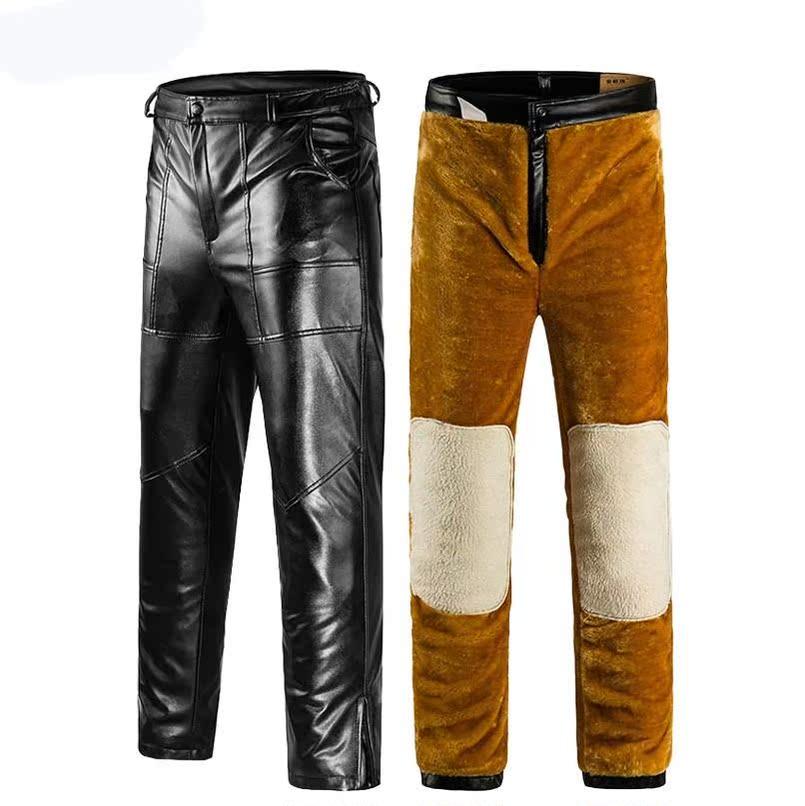Quần cưỡi ngựa da xe máy hoang dã mỏng thời trang thủy triều dày XL áo nhung dày mùa thu đông châu Âu và Hoa Kỳ - Quần da