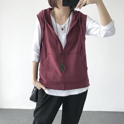 Mùa thu mới hoang dã lỏng bông trùm đầu vest không tay áo khoác ngoài của phụ nữ vest áo thun vest áo khoác