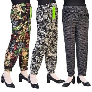 Trung niên thời trang mẹ quần thường cao eo của phụ nữ xà cạp quần nhảy mùa hè chín điểm in rộng chân cây ra hoa phần mỏng