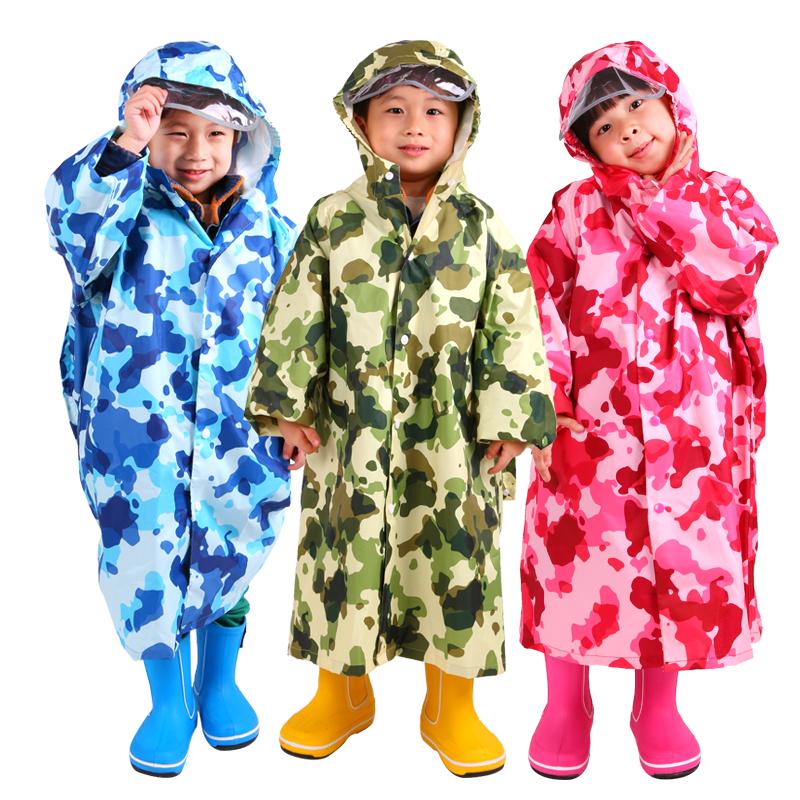 儿童加厚迷彩雨披大书包位中小学生雨衣